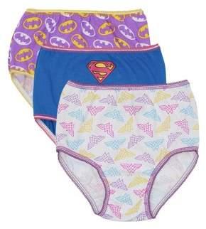 Justice League Superman; Batman; Wonder Woman, Girls Underwear, 3 Pack 100% Combed Cotton Panties (Toddler Girls)
