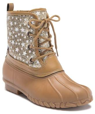 OLIVIA MILLER Glitter Star Faux Shearling Lined Duck Boot (Toddler, Little Kid, & Big Kid)