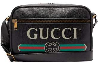 Gucci Logo Print Leather Messenger Bag - Mens - Black