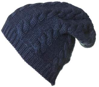 3f6f4d0b9b5 Black Navy Cable Knit Cashmere Slouch Beanie