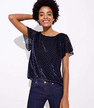 LOFT Velvet Dot Flared Sleeve Top