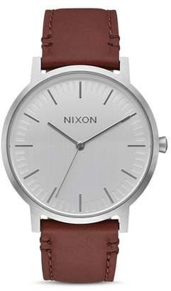 Nixon Porter Leather Watch, 40mm