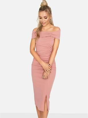 Girls On Film Scuba Crepe Ruched Front Detail Bodycon Midi Dress - Light Pink