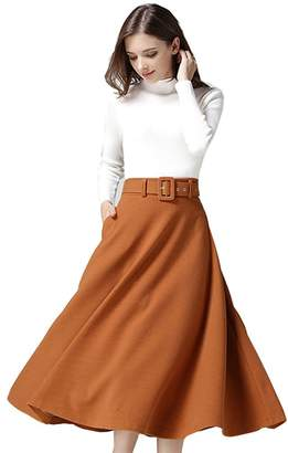 Dean Women's Elegant Wool Winter A-line Daily Casual Long Maxi Skirts Work Dresses XL