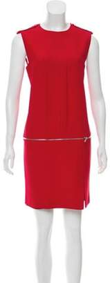 Alexander McQueen Zipper-Accented Mini Dress Red Zipper-Accented Mini Dress