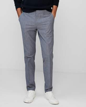 Express Extra Slim Light Blue Chambray Stretch Dress Pant