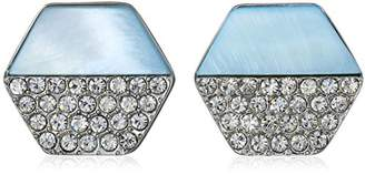 T Tahari Mop/Pave Hexagon Disc Button Stud Earrings