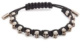 Alexander McQueen Skull Embellished Cord Bracelet - Mens - Black