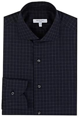 Boglioli Men's Checked Cotton Dress Shirt - Navy