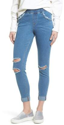 Hue Ripped Curvy Denim Skimmer Leggings