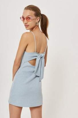 Topshop Gingham mini pinafore dress