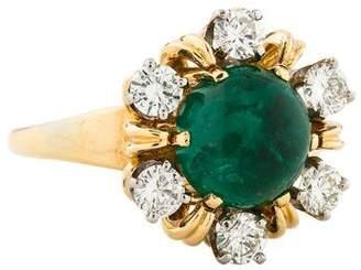 Peter Lindeman 18K Emerald & Diamond Cocktail Ring