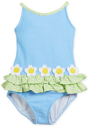 Florence Eiseman Stripe Tank One-Piece Swimsuit w/ Check Trim, Size 2-6X