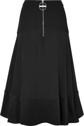 Givenchy Paneled Hammered Silk-satin, Wool And Crepe Skirt - Black