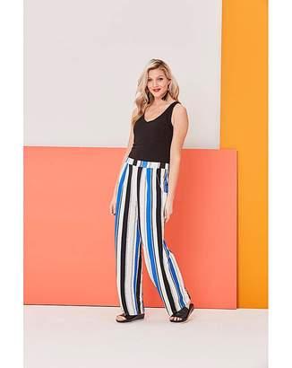 Fashion World Stripe Wide Leg Jersey Trousers Long