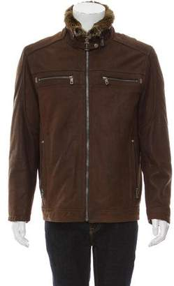 Andrew Marc Fur-Lined Leather Coat