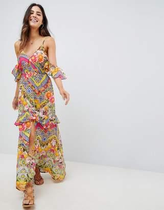 Bardot ASOS DESIGN Cuban Tile Print Off Shoulder Frill Maxi Beach Dress