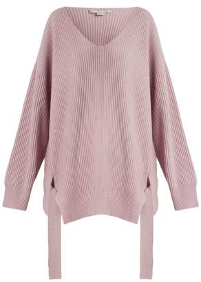 Stella McCartney Curved V-neck ribbed-knit cashmere-blend sweater