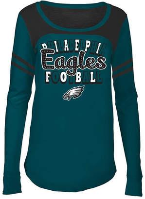 5th & Ocean Philadelphia Eagles Sleeve Stripe Long Sleeve T-Shirt, Girls (4-16)