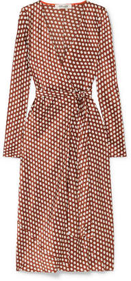 Diane von Furstenberg Tilly Polka-dot Silk-satin Wrap Dress - Brown