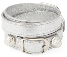 Balenciaga  Buckle Leather Wrap Bracelet