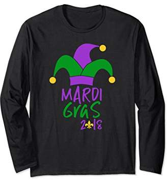 Mardi Gras 2018 Long Sleeve T-Shirt Purple Green and Gold