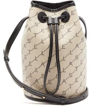 Stella McCartney Monogram Faux Leather And Canvas Mini Bucket Bag - Womens - Grey Multi
