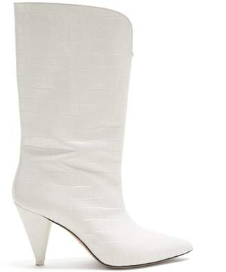 ATTICO Crocodile Effect Leather Ankle Boots - Womens - White