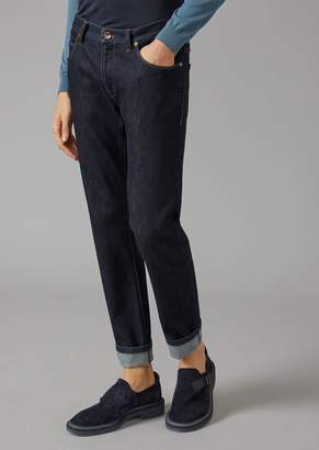 Giorgio Armani Slim Fit Jeans In Cotton And Cashmere Denim