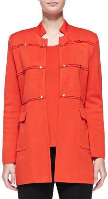 Misook Studded Long Jacket, Blood Orange $458 thestylecure.com