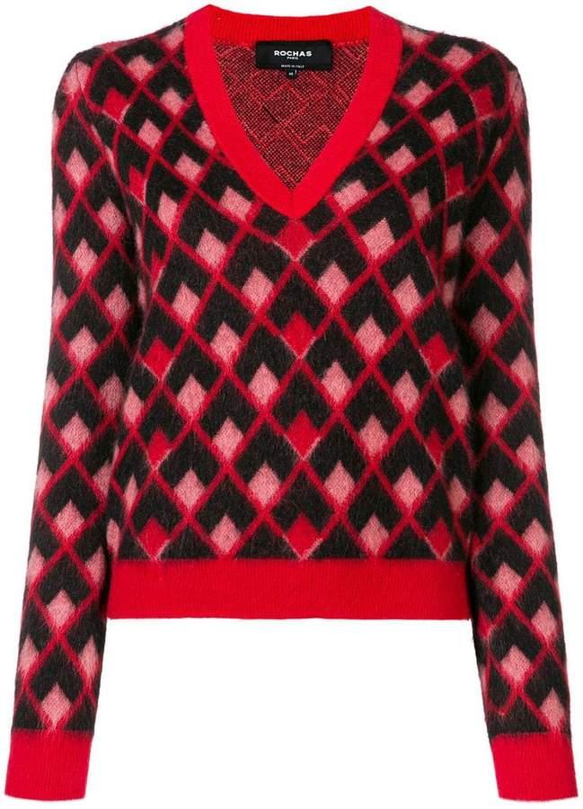 geometric intarsia jumper