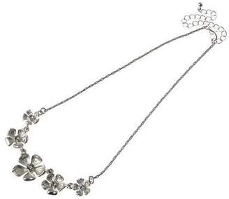 Factory The Jewellery Clear Crystal Multi Flower Silver Necklet of 43.5cm
