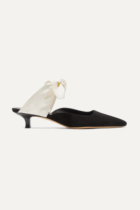The Row Coco Suede And Satin Mules - Black