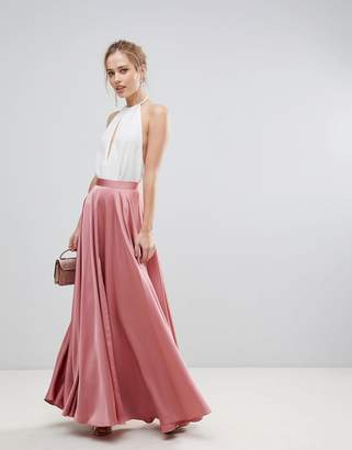 Asos Design Satin Maxi Skirt with Centre Front Split