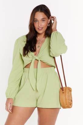 Nasty Gal Womens We Don'T Play Games Plus Tie Playsuit - Green - 4, Green