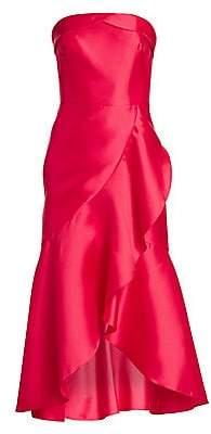 ML Monique Lhuillier Women's Asymmetrical Ruffle Satin Cocktail Dress
