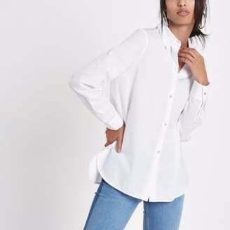 River Island White rhinestone embellished button shirt