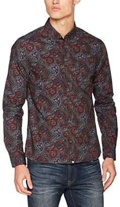 Pretty Green Men's Golbourne Paisley Ls Casual Shirt,Small
