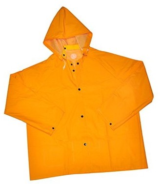 G & F 331L 32 Long Heavy Weight 35mm PVC Over Polyester Rain Coat with Hood, Rain Jacket Heavy Duty, Large, Yellow