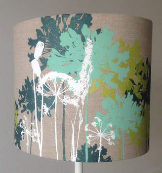 Emma Purdie Floral Linen Drum Lampshade In Mint, Green And White