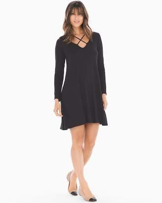 Elan International Crisscross Long Sleeve Short Dress Black