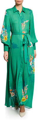 Alexis Yadira Belted Floral Blouson-Sleeve Long Dress