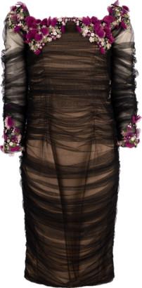 Pamella Roland Tulle Off Shoulder Beaded Dress