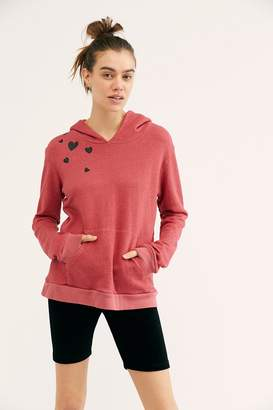 Monrow Pullover Hoodie With Heart Cluster