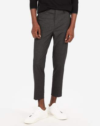 Express Gray Microcheck Cropped Dress Pant