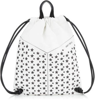 Jimmy Choo MARLON White and Black Biker Leather Drawstring Backpack with Stars