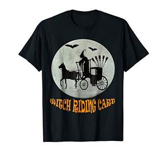 Halloween witch riding cart at midlnight T-Shirt