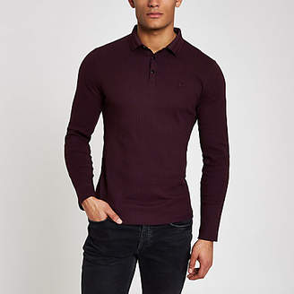 River Island Burgundy muscle fit long sleeve polo shirt a4b60c2aa72