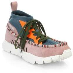 Valentino Suede-Paneled Lace-Up Sneakers