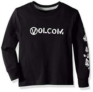 Volcom (ヴォルコム) - [ボルコム] [ キッズ ] 長袖 プリント Tシャツ (ベーシックフィット) [ Y3641802 / Stone Spew LS T Kids ] かわいい 子供服 BLK_ブラック US 4T (日本サイズ110 相当)